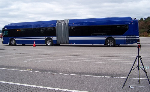 Transit bus at bus testing facility in Altoona, PA