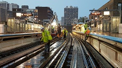 CTA staff work on subway tracks in Chicago