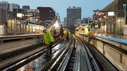 CTA staff work on subway tracks in Chicago