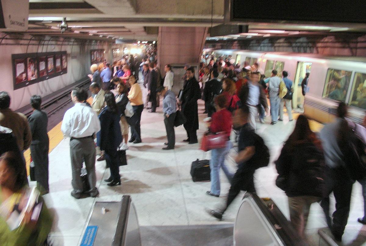 Crowded BART subway platform
