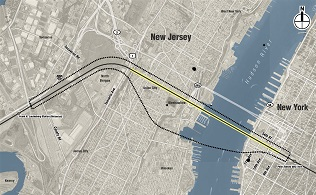 Map of Hudson Tunnel project