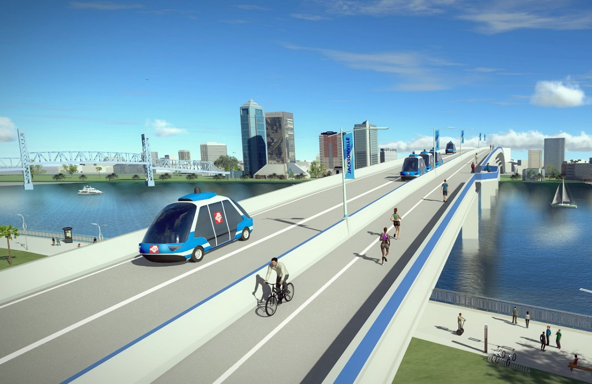 Rendering of Jacksonsville Skyway with automated vehicles