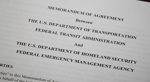 Federal Transit Administration, Federal Emergency Management Agency Sign Agreement Outlining Roles For Addressing Public Transit