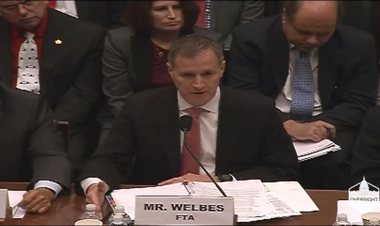 FTA Executive Director Matthew Welbes testifying before House subcommittee