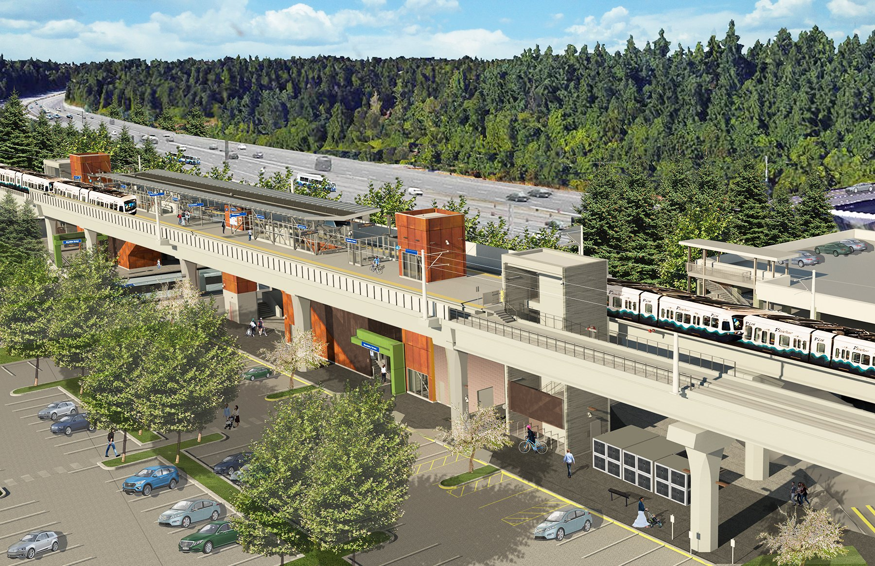 Aerial view of Mountlake Terrace station (rendering)