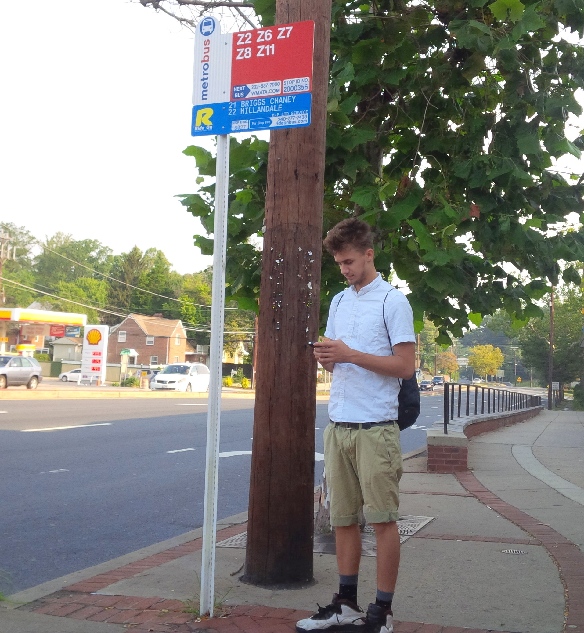 Young man with phone waiting at bus stop