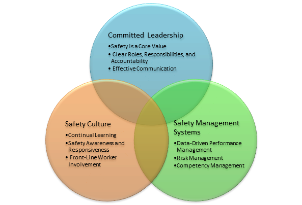 Graphic showing safety topics from a report on Safety Management Systems