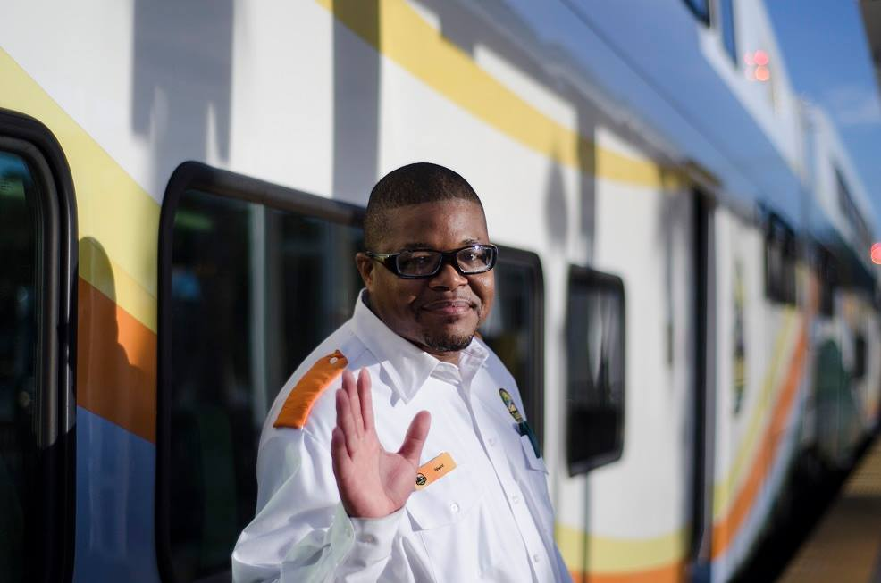 SunRail train operator in front of train