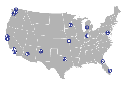 National map of U.S. with 17 CIG projects