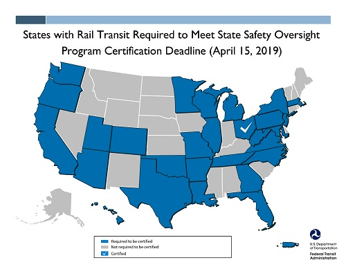 States with rail transit required to meet State Safety Oversight Program certification deadline