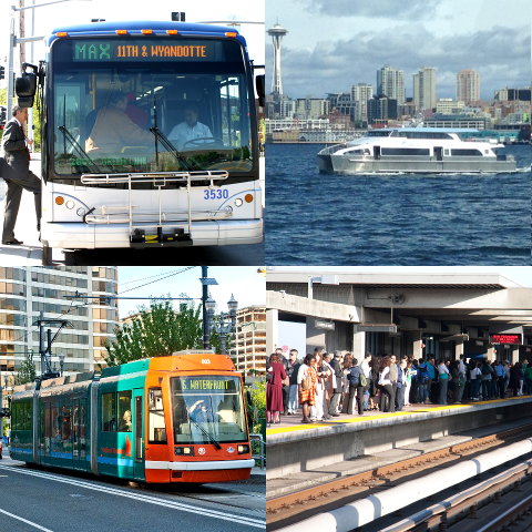 Collage of public transportation modes: bus, ferry, light rail and subway platform