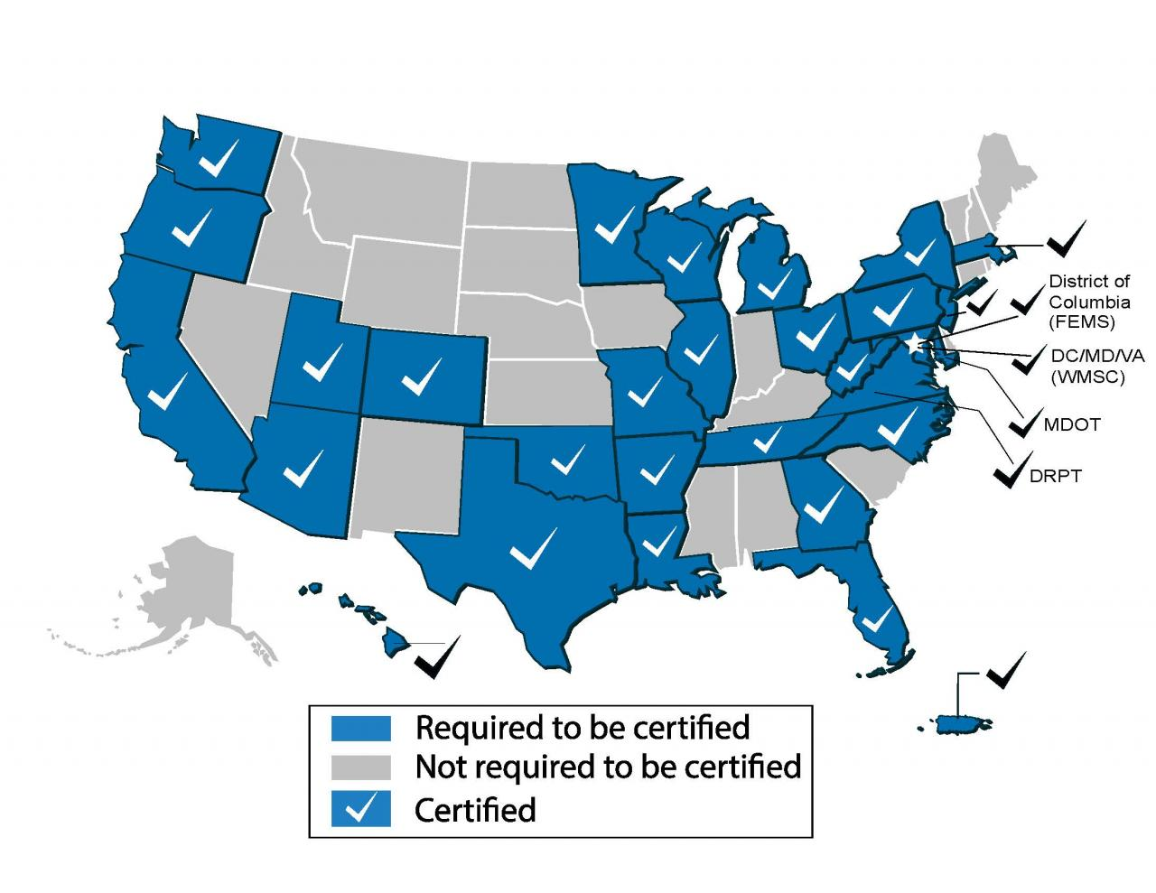 FTA SSO Program Certification Map March 18, 2019