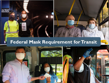 Collage of masked passengers on transit