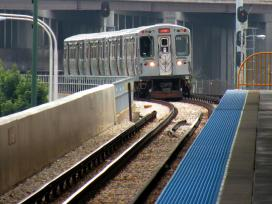 CTA subway rounds a bend